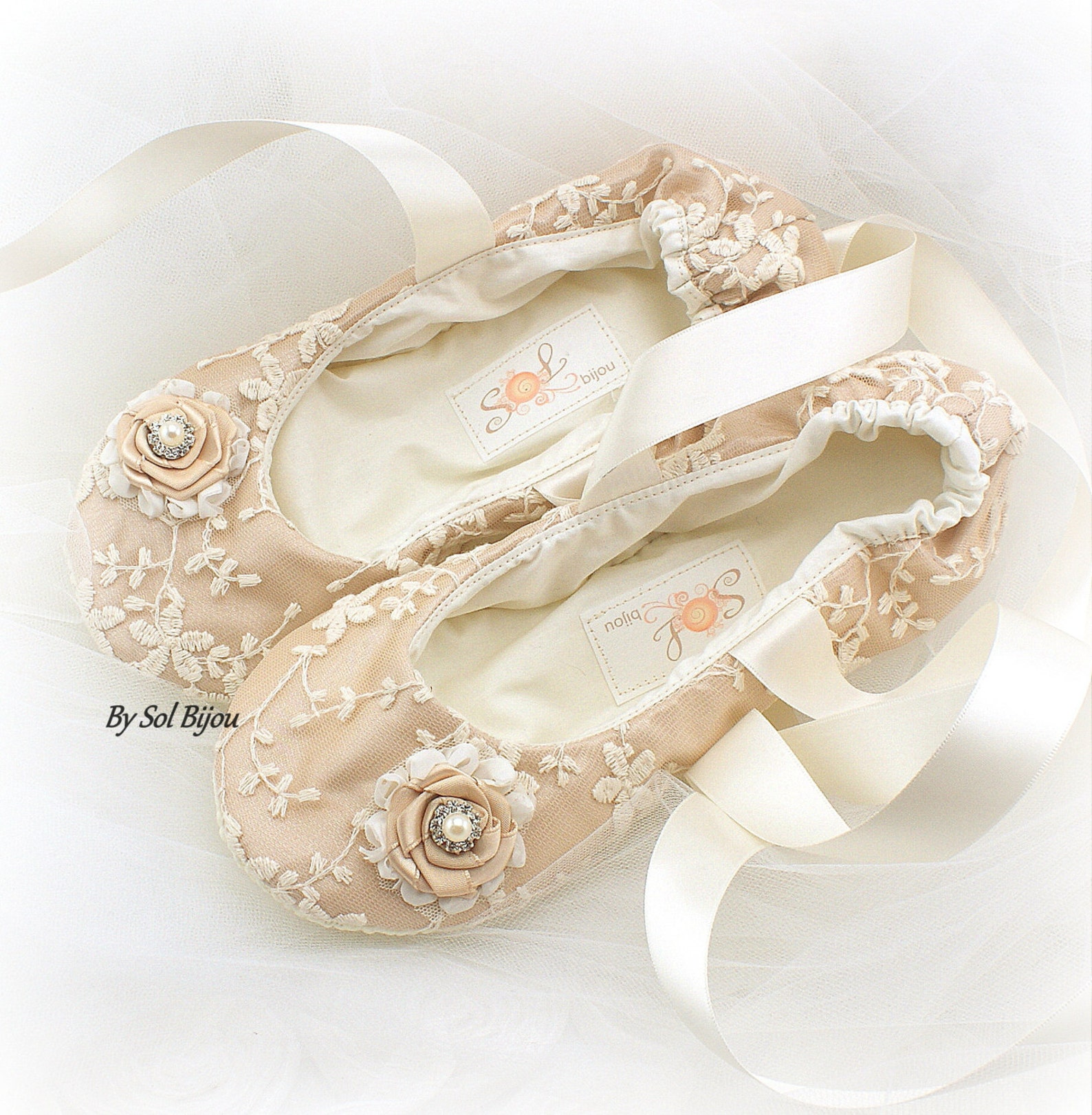 custom wedding ballet slippers in champagne and ivory flat shoes for brides