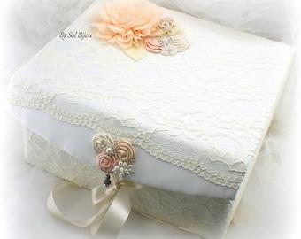 Wedding Keepsake Box, Ivory, Blush, Peach, Cream, Wedding Box, Memory Box, Baby, Lace Keepsake Box, Vintage Style, Pearls, Crystals, Elegant
