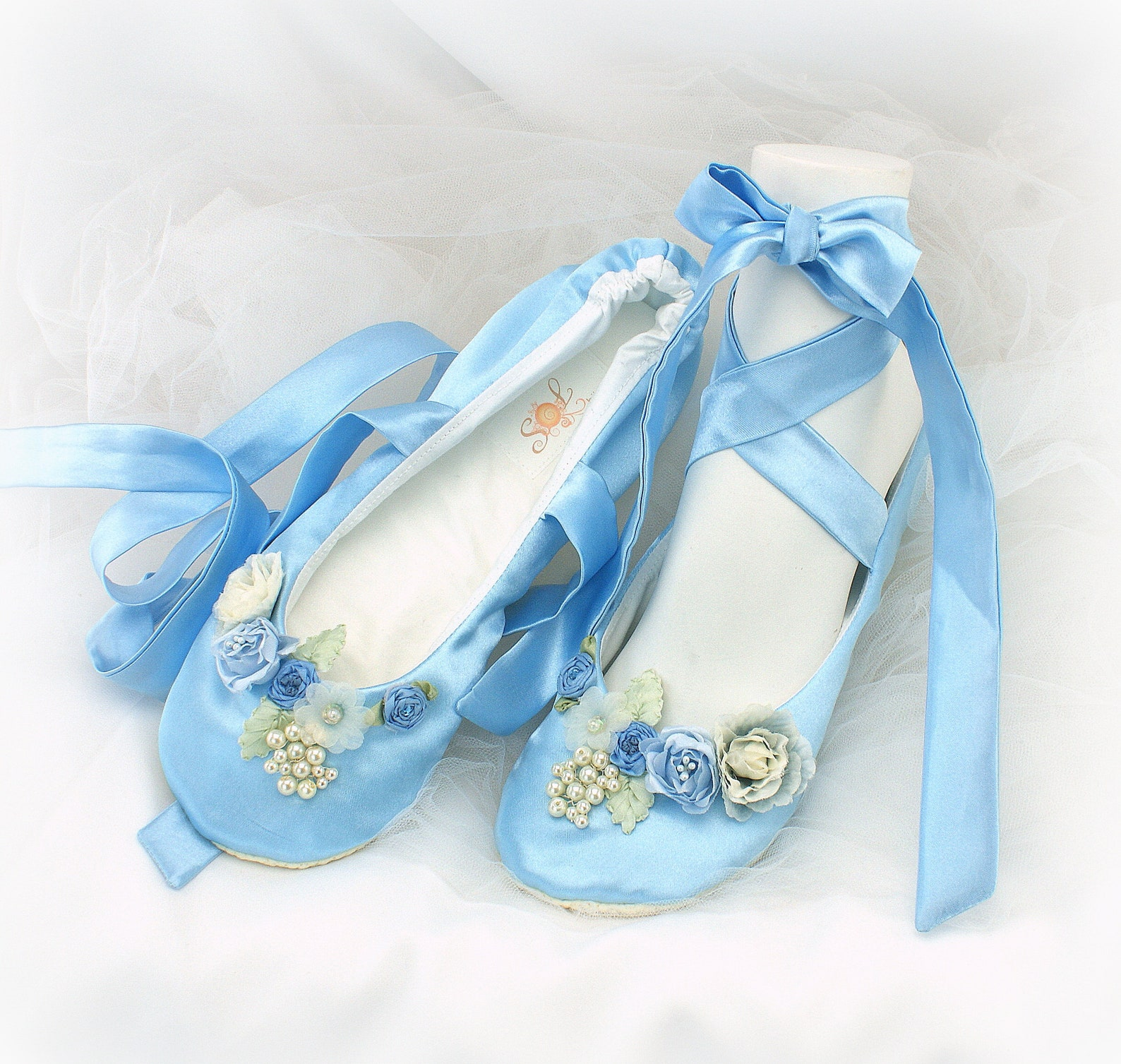 blue satin wedding slippers with flowers vintage style ballet shoes