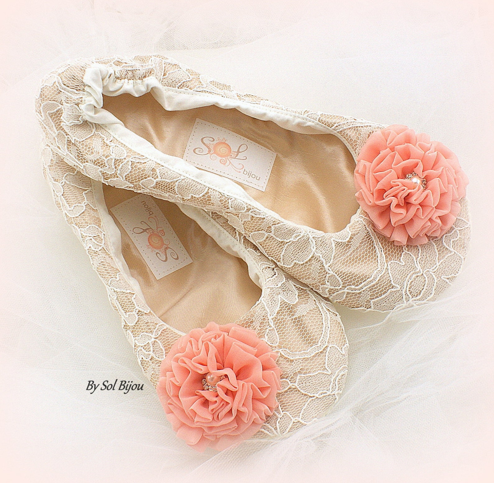 wedding ballet flats,gold and coral,champagne,lace ballet flats,ballet slippers,vintage wedding,maid of honor,wedding shoes,eleg
