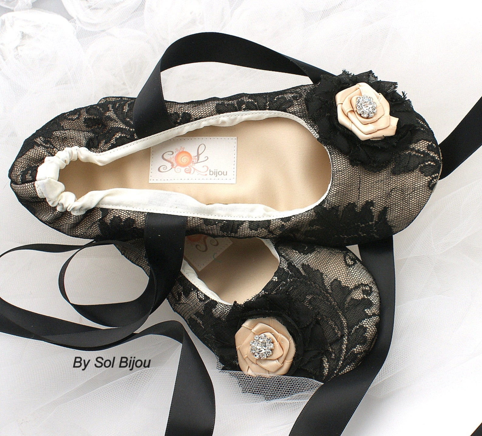 black ballet flats, black, ballet slippers,lace ballet flats, wedding, bridal, elegant,flats,lace up,ballerina slippers, flower