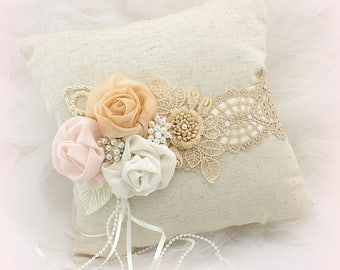 Vintage Style Linen Wedding Ring Pillow in Champagne Blush Ivory with Pearls Shabby Chic Vintage Style