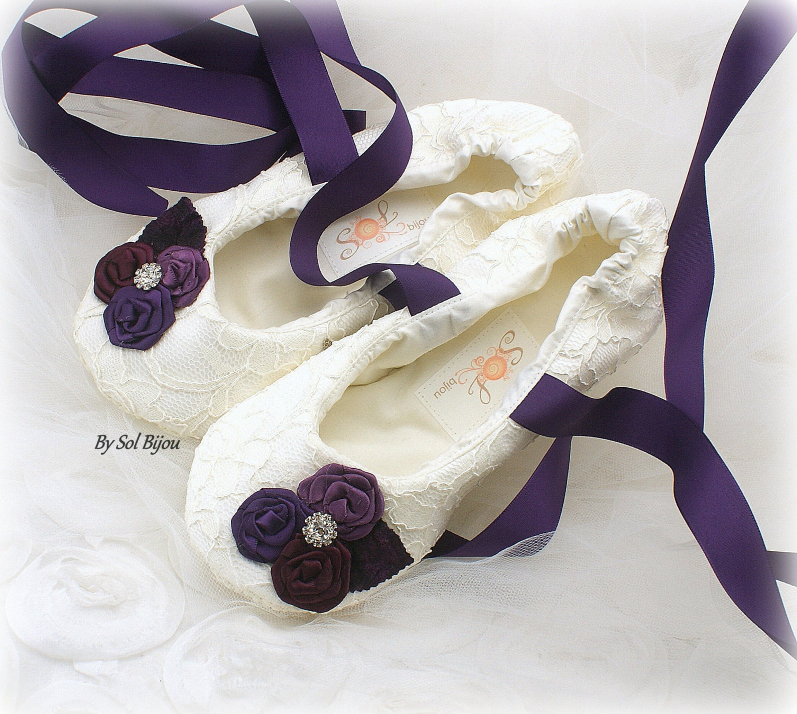 bridal ballet slippers in purple plum and ivory wide foot ballet shoes any size