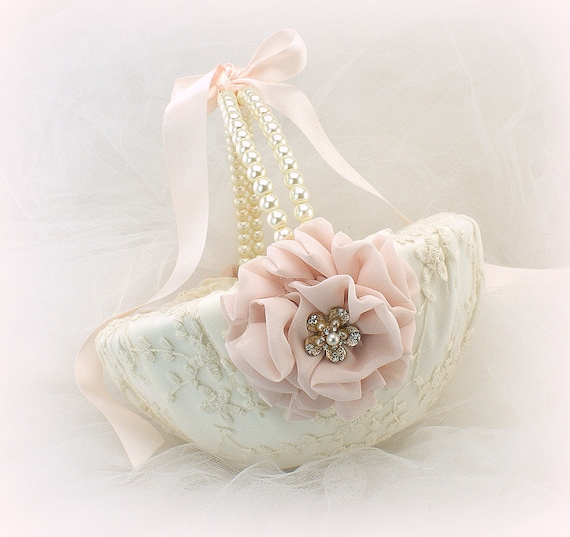 Gold and Ivory Vintage Gatsby Style Unique Flower Girl Basket with Lace and Pearls Wedding Basket Blush