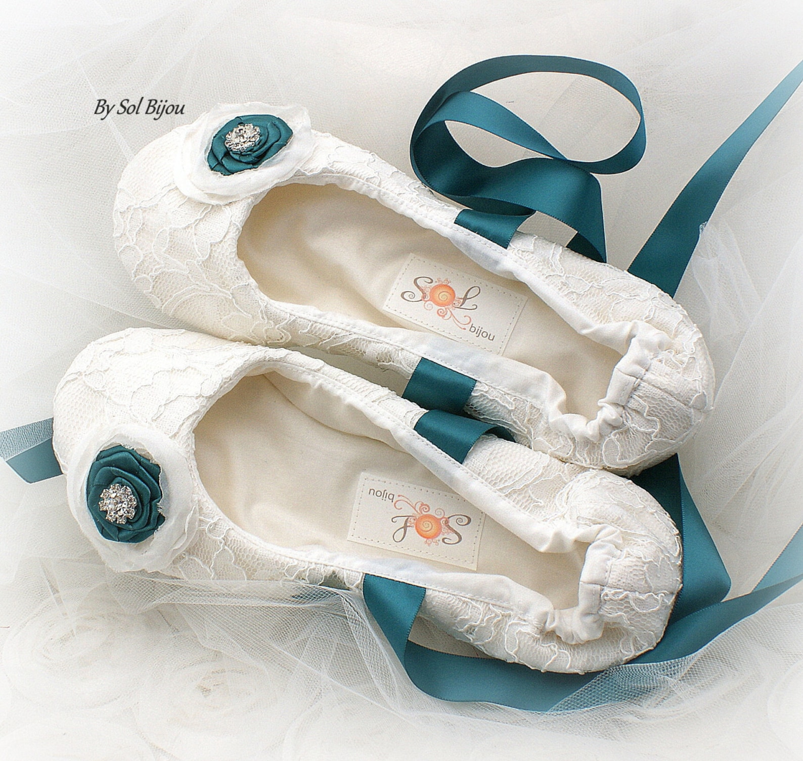 teal and white wedding flats, white lace ballet flats with teal flowers and ankle ties