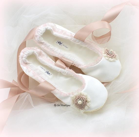 Wedding Ballet Flats Ivory Rose Blush Pink Bridal Shoes   Etsy
