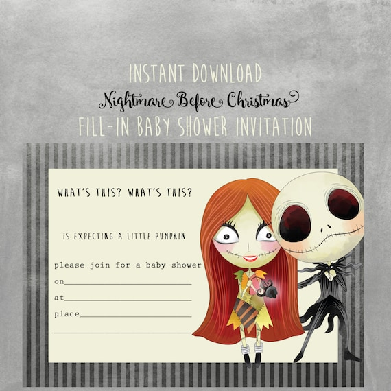Nightmare Before Christmas Baby Shower Invitation Instant
