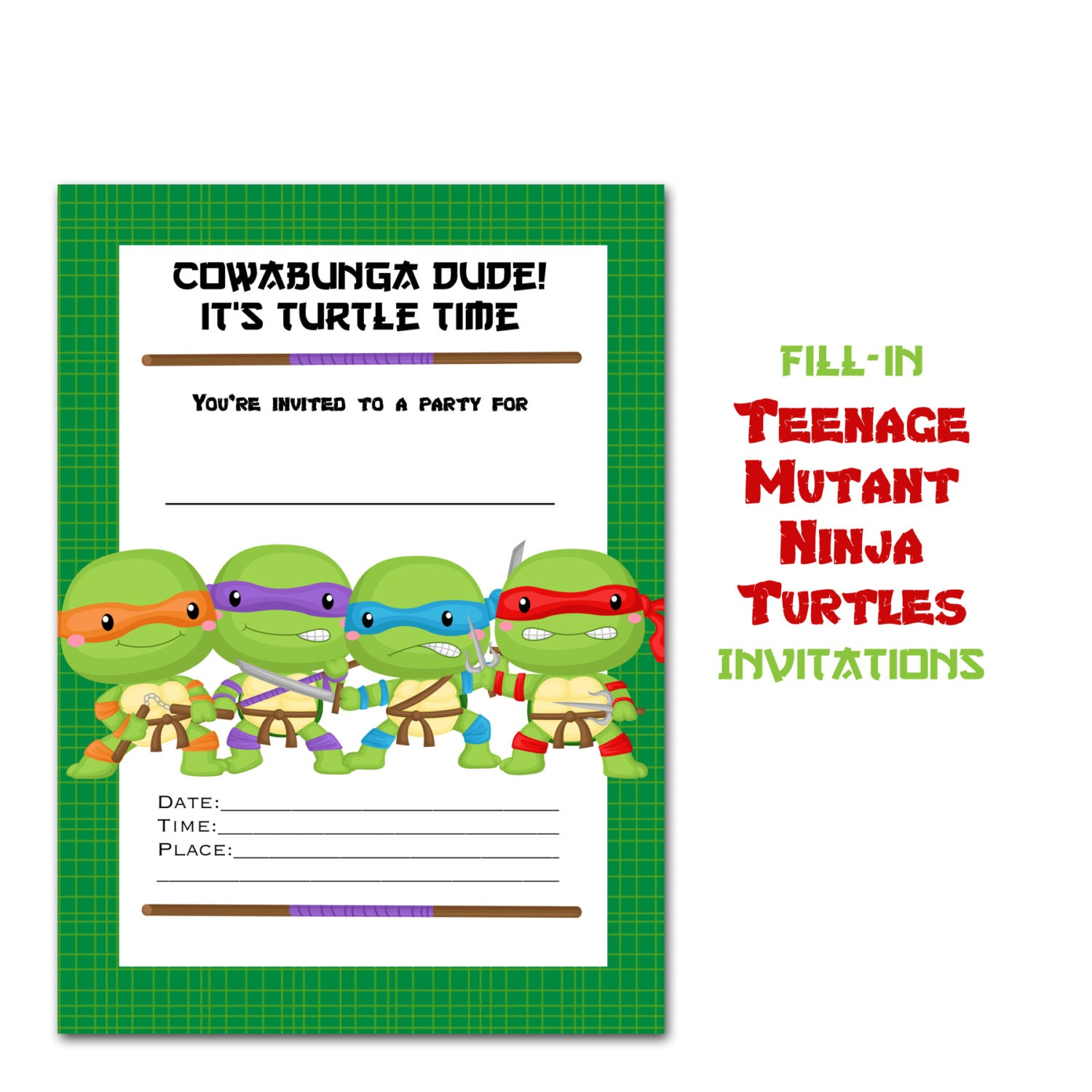 Teenage Mutant Ninja Turtle Invitation Fill-in Turtle cards | Etsy