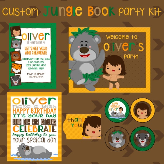 jungle book birthday party printable kit safari party animal party