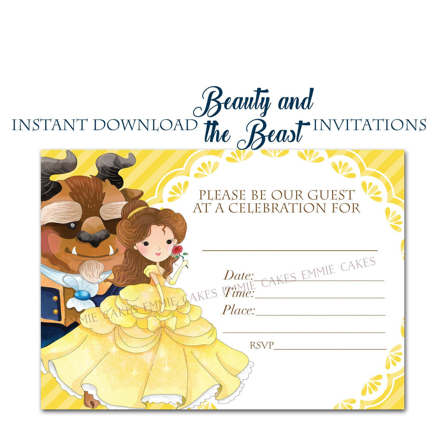 Beauty and the Beast Invitation Instant Download Fill-in 5x7   Etsy