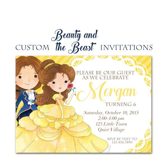 beauty and the beast birthday invitation custom princess party 5x7