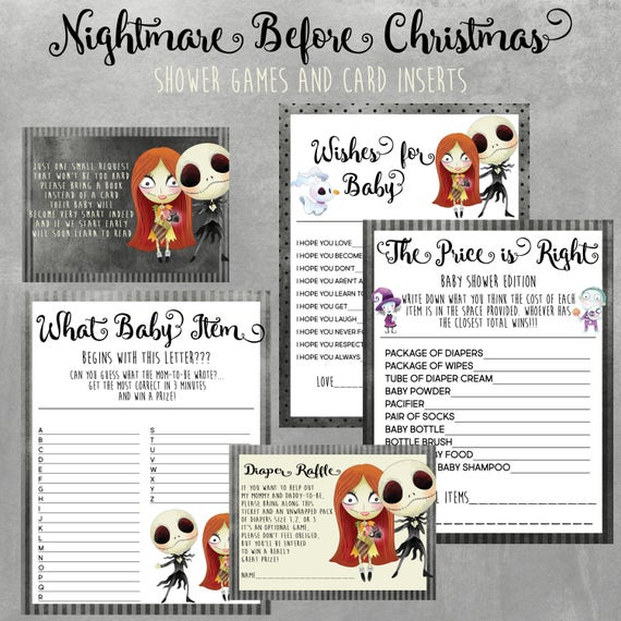 Nightmare Before Christmas Baby Shower Games Bundle Instant Etsy