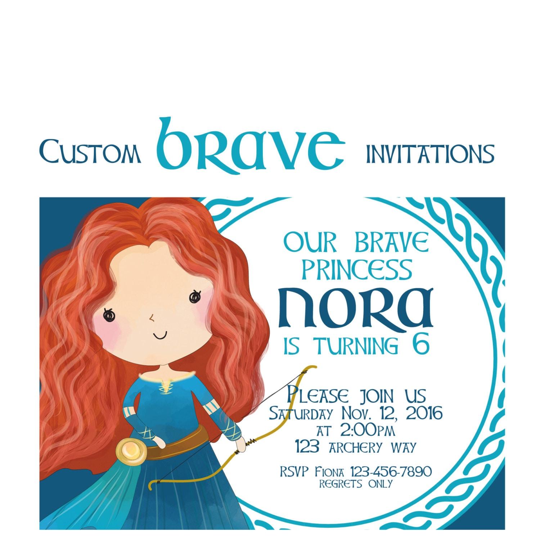 Brave Party Invitation Custom Merida Birthday Invites Disney | Etsy