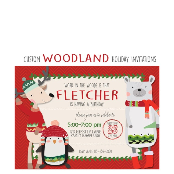 woodland hipster holiday party invitation boy or girl party custom