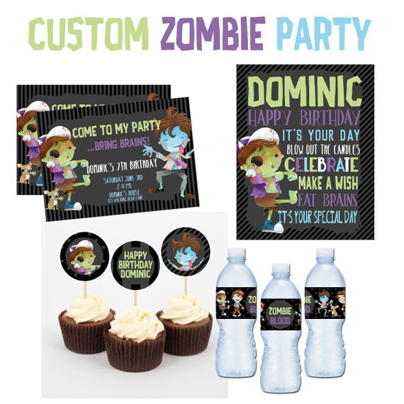 Zombie Birthday Party Printable Kit Custom Invitations Boy Walking Dead Decor DIY Personalized