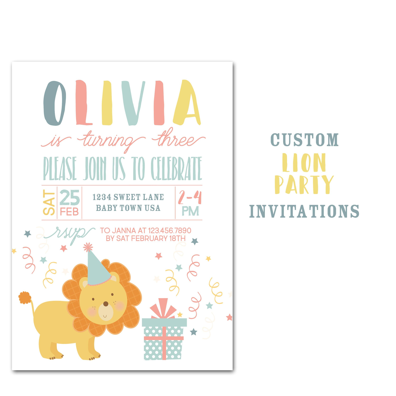 Lion Birthday Party Invitation Custom Jungle Animal Birthday | Etsy