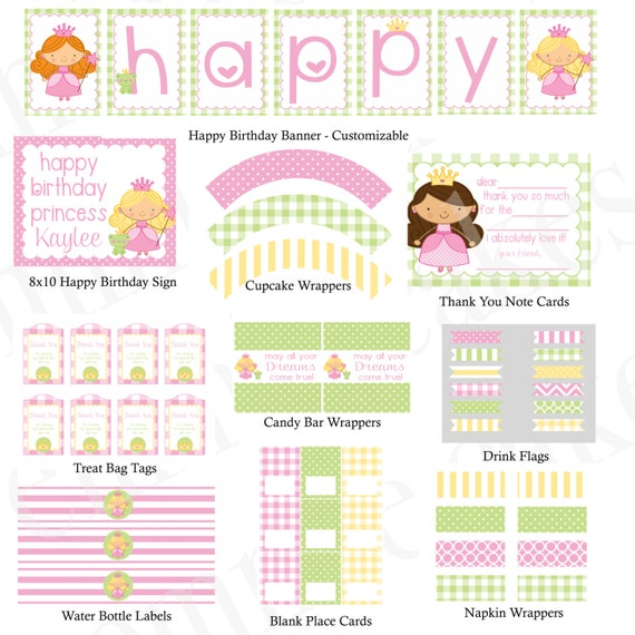 Princess Birthday Party Printable Kit Custom And