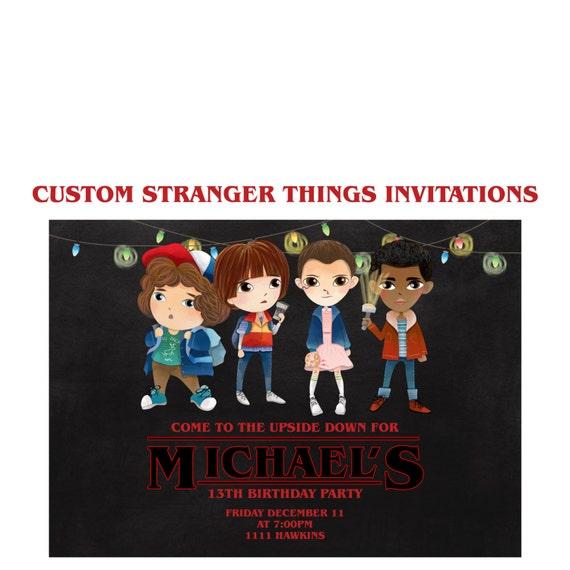 Stranger Things Invitation Custom Netflix Party 5x7 Shower Invites Sci Fi Birthday Eleven
