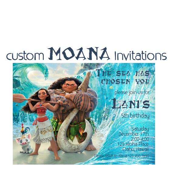 Moana Birthday Invitation Custom Hawaiian Princess Party