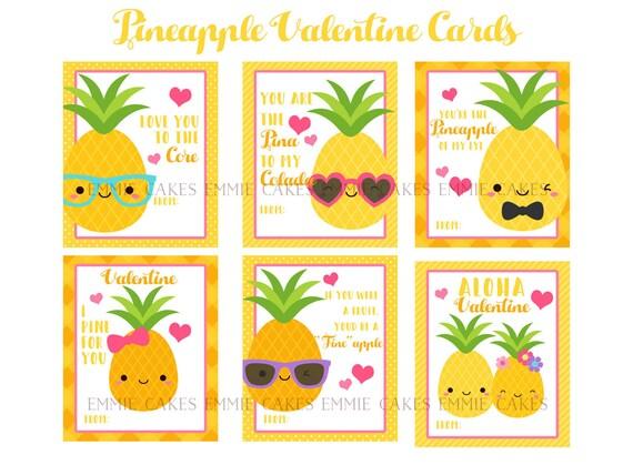 Pineapple Valentine Day Cards Hawaiian Love Instant Etsy