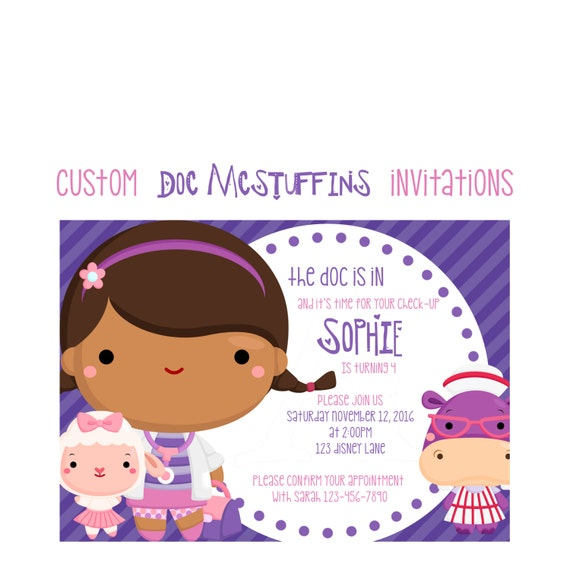 Doc Mcstuffins Birthday Invitation Custom Girl Doctor Party 5x7