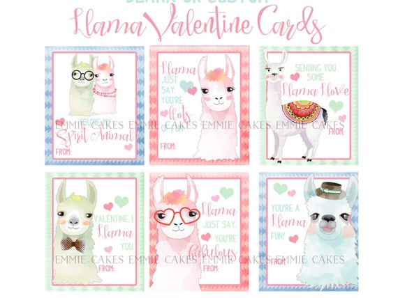 Llama Valentine Day Cards Alpaca Love Instant Download Cards