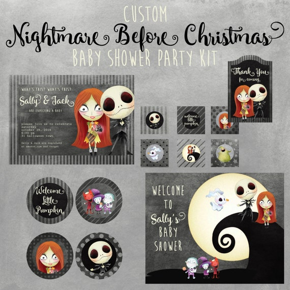 Nightmare Before Christmas Baby Shower Printable Kit Custom Etsy