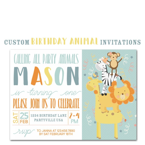 Animal Birthday Party Invitation Custom Jungle