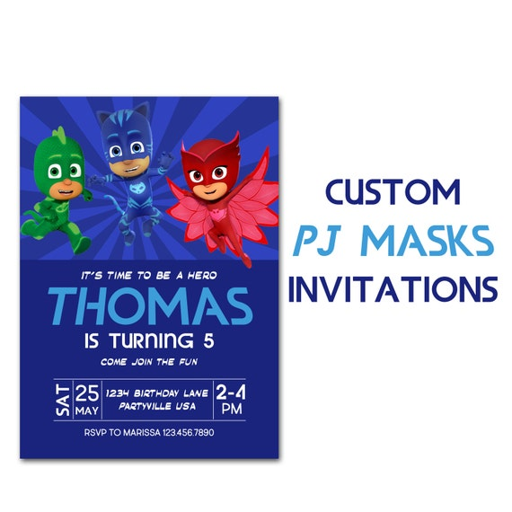 PJ Masks Inspired Birthday Invitation Custom Party Invite