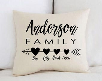 Unique baby gift etsy unique baby gift personalized baby pillow family arrow hearts negle Images