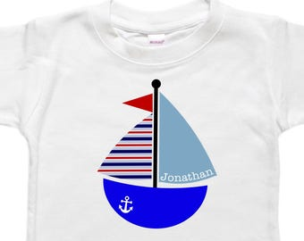 Personalized Baby Bodysuit - Toddler Shirt Tshirt - Baby Shower Gift - Sailboat Sailing Boat