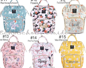 c07bb2c8793b Backpack PERSONALIZED name monogram embroidered Unicorn