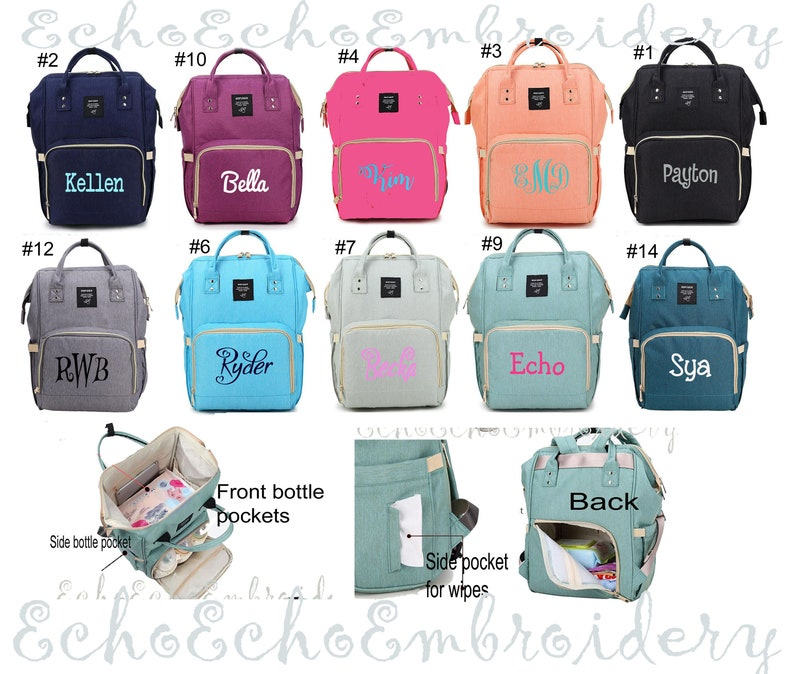 Diaper bag Nappy Baby Bag. Backpack PERSONALIZED  name image 0