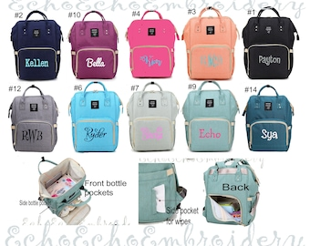 Diaper bag, Nappy, Baby Bag. Backpack PERSONALIZED  name monogram embroidered 12 Color options
