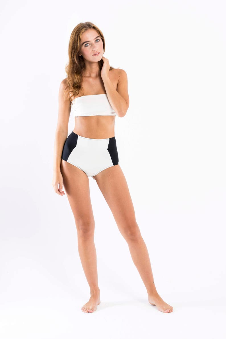 Highwaisted bikini set Olga ecru /& black reversible top