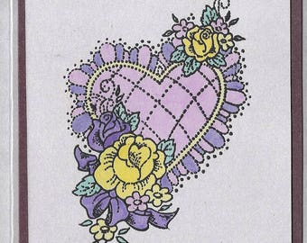 Stitched Heart Blank Note Card