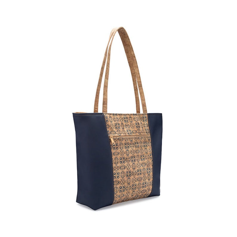 Navy Tile Print Large Cork Tote Bag Faux Leather