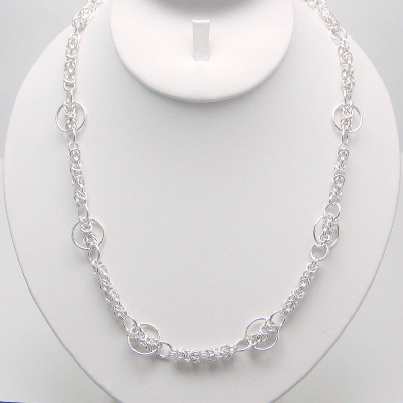 18 to 20 Inch Silver Chain Sterling Silver Chainmaille Necklace