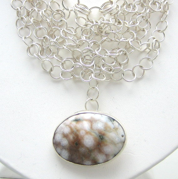 20 Inches Sterling Silver Chainmaille Necklace Ocean Jasper Stone Victorian Theme