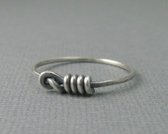solid sterling silver love me knot ring. love me not ring. hangmans noose ring. lasso ring. western rope ring. old west ring. thick 16g wire