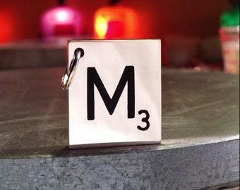 solid sterling silver scrabble inspired tile pendant. mirror polish. silver tile initial pendant. custom letter pendant.