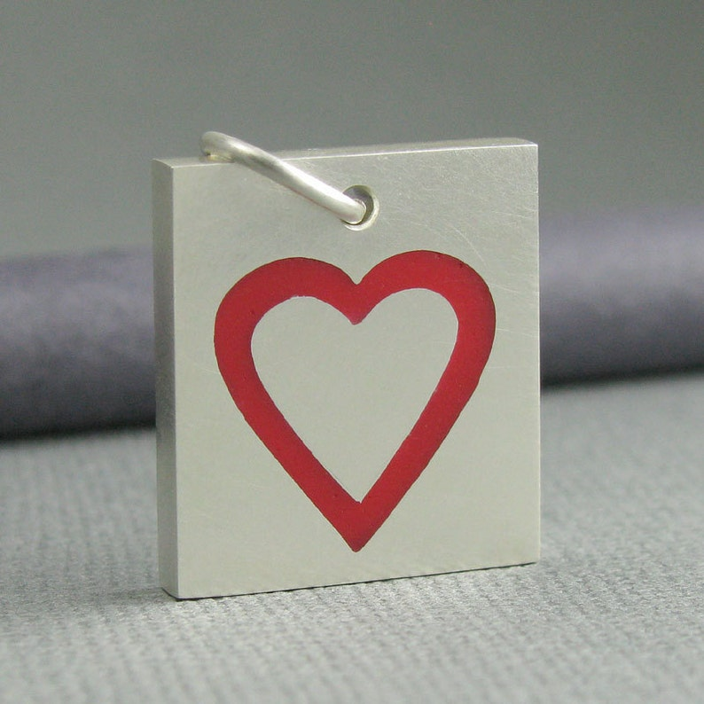 solid sterling silver heart pendant. red heart pendant. solid image 0