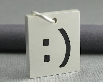 solid sterling silver smiley pendant. smiley emoticon pendant. Typed smile :) emoji pendant. unisex jewelry. handmade