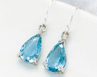 Silver Blue Aquamarine Pear Cut Earrings, March Aquamarine Birthstone, Healing Throat Chakra, Aries Birthstone Earrings