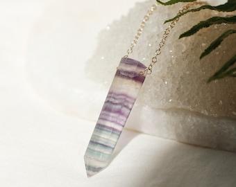 Raw Rainbow Fluorite Point Necklace, Protective Fluorite Pendant, Cleansing Crystal,Teal Green Fluorite, Purple Fluorite, Meditation Tool