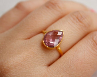 Gold Pink Quartz Teardrop Ring - Pear Cut Pink Quartz - 925 Silver, Gold Plated