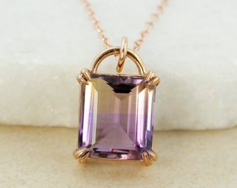 AAA Grade Purple Ametrine Necklace - 4 Prong Set Purple Ametrine Pendant - 14Kt Rose Gold Filled