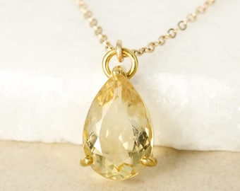 Gold Yellow Citrine Teardrop Necklace - November Birthstone Necklace - 14Kt Gold Filled