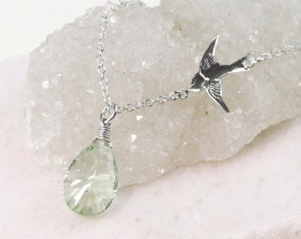 0012dcf30 Silver Green Amethyst Sparrow Layering Necklace Set, Silver Dainty  Satellite Chain, Personalized Christmas Jewelry Gifts