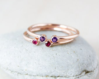 Dual Birthstone Ring, AAA Gemstones, Rose Gold